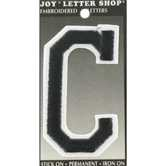 "Black C 3"" Embroidered Iron-On Letter"